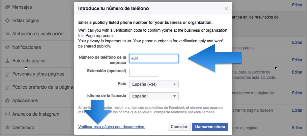 Verificar Pagina Facebook Empresa 2017 telefono documentos