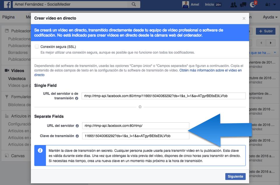 facebook live ordenador clave de transmision stream key facebook