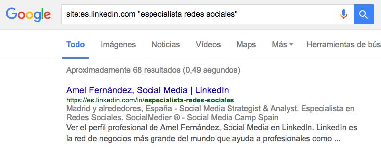 Enlace de la URL de linkedin para compartir - posicionamiento google