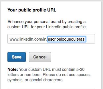 Personalizar URL Linkedin - Enlace de la URL de linkedin para compartir CV