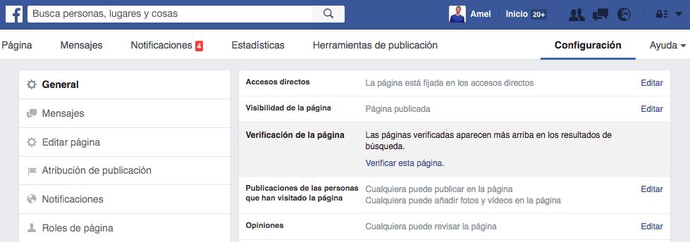 Verificar Pagina Facebook Empresa 2017